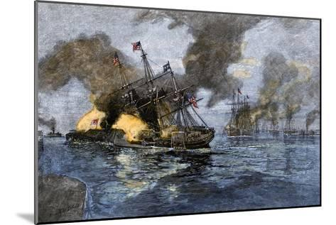 """Farragut's Flagship USS """"Hartford"""" Colliding with the Ironclad CSS """"Tennessee"""", 1864--Mounted Giclee Print"""
