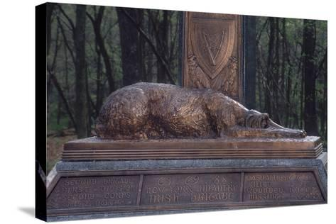 Irish Wolfhound on the Monument to NY's Irish Brigade, Little Round Top, Gettysburg Battlefield--Stretched Canvas Print