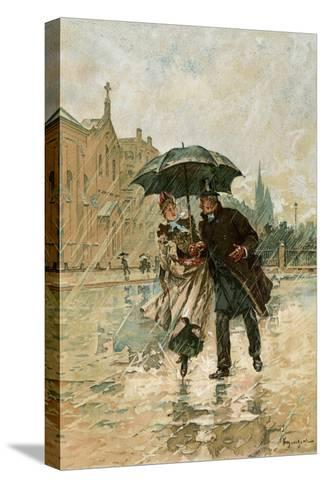 Couple Walking in the Rain on an English City Street, 1800s--Stretched Canvas Print