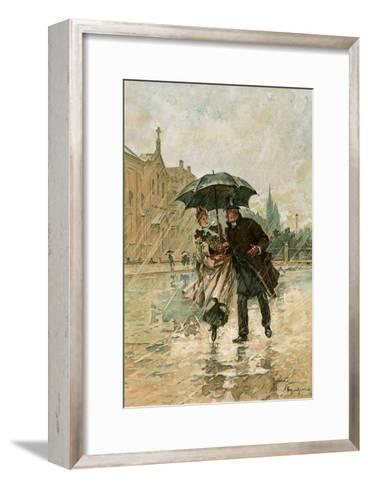 Couple Walking in the Rain on an English City Street, 1800s--Framed Art Print