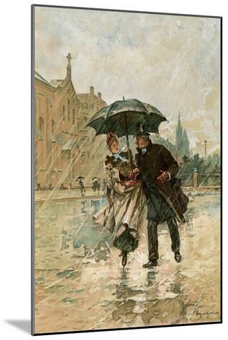 Couple Walking in the Rain on an English City Street, 1800s--Mounted Giclee Print