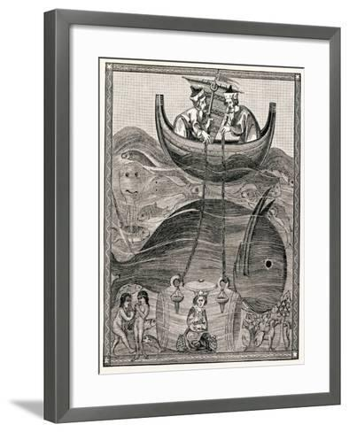 Alexander the Great Making Underwater Observations in a Glass Barrel, 4th Century BC--Framed Art Print