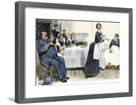 Servants Imitating the Lady of the House, circa 1900--Framed Art Print