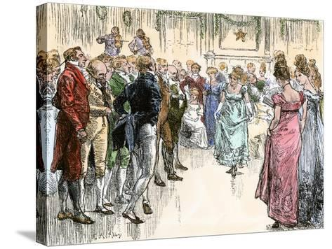Guests Dancing the Virginia Reel at a Westover Plantation Ball, 1700s--Stretched Canvas Print