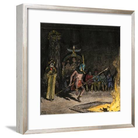 Shalako Leading a Ceremony at Night, Zuni Pueblo, New Mexico, 1800s--Framed Art Print