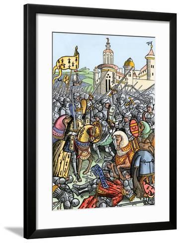 Capture of Bertrand De Guescelin in the Battle of Auray, 1364--Framed Art Print