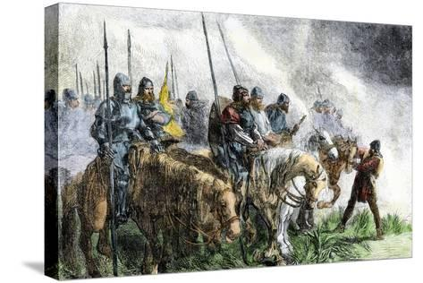English Army on the Morning of Battle at Agincourt, Hundred Years' War, 1415--Stretched Canvas Print