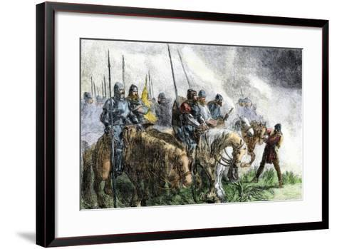 English Army on the Morning of Battle at Agincourt, Hundred Years' War, 1415--Framed Art Print