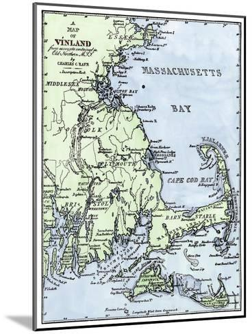 Vinland Locations on Cape Cod, as Portrayed by Charles Rafn, from Accounts, Old Norse Manuscripts--Mounted Giclee Print