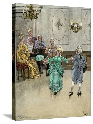 Colonial Children Learning to Dance the Minuet--Stretched Canvas Print