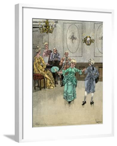 Colonial Children Learning to Dance the Minuet--Framed Art Print