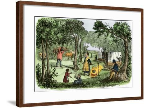 Pioneers' Camp at Sunset Along the Oregon Trail, 1850s--Framed Art Print