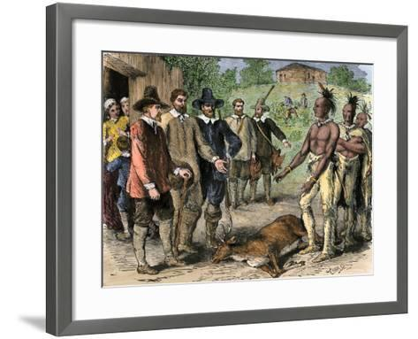 Native Americans Bringing a Deer to New England Colonists, 1600s--Framed Art Print