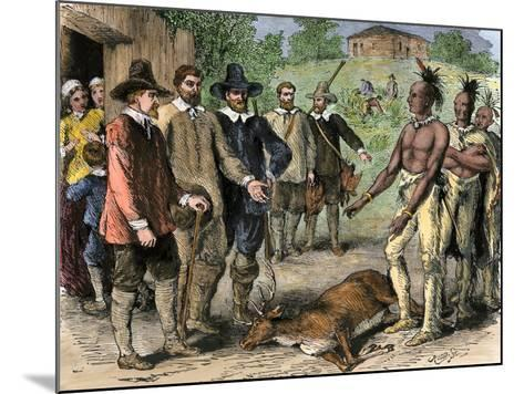 Native Americans Bringing a Deer to New England Colonists, 1600s--Mounted Giclee Print
