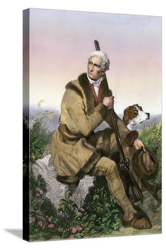 Daniel Boone, Pioneer of Kentucky, with His Rifle and Dog--Stretched Canvas Print