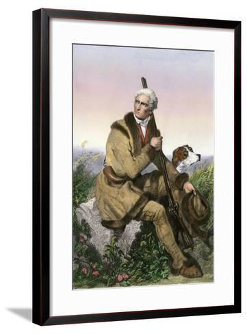 Daniel Boone, Pioneer of Kentucky, with His Rifle and Dog--Framed Art Print