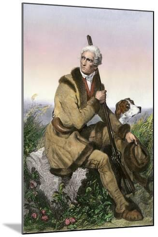 Daniel Boone, Pioneer of Kentucky, with His Rifle and Dog--Mounted Giclee Print