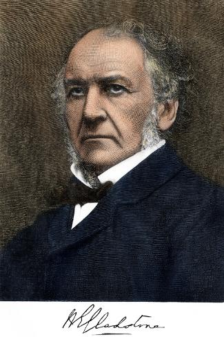 William Ewart Gladstone, with His Signature--Stretched Canvas Print
