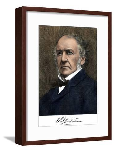 William Ewart Gladstone, with His Signature--Framed Art Print