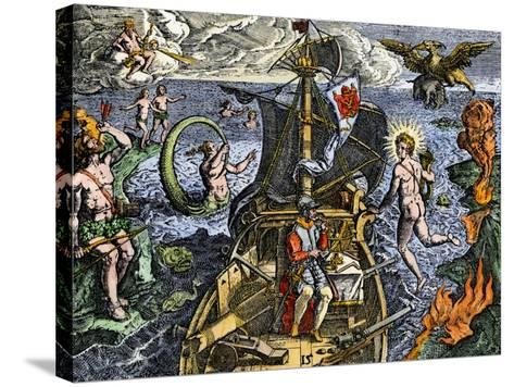 Magellan Passing Through His Strait Sail around South America Circumnavigation of Earth, 1519-1522--Stretched Canvas Print