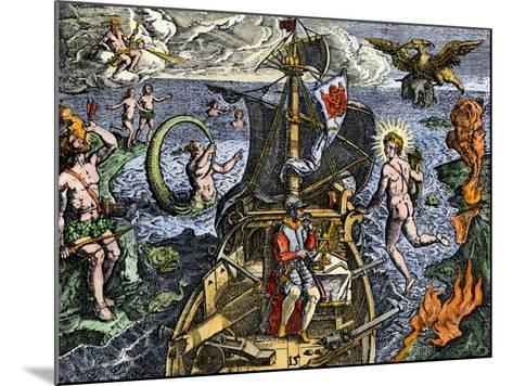 Magellan Passing Through His Strait Sail around South America Circumnavigation of Earth, 1519-1522--Mounted Giclee Print