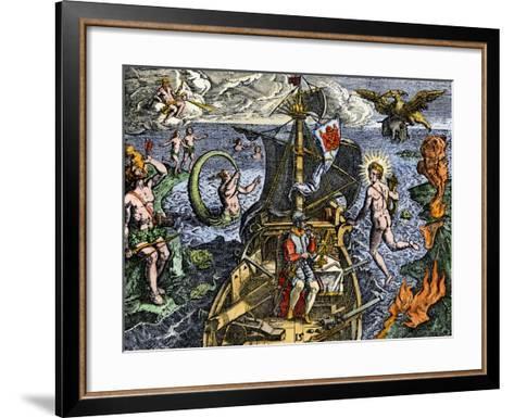 Magellan Passing Through His Strait Sail around South America Circumnavigation of Earth, 1519-1522--Framed Art Print
