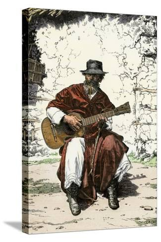 """Argentinian """"Gaucho Cantor,"""" or Cowboy Guitar-Player of the Pampas, 1800s--Stretched Canvas Print"""