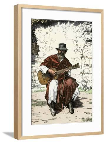 """Argentinian """"Gaucho Cantor,"""" or Cowboy Guitar-Player of the Pampas, 1800s--Framed Art Print"""