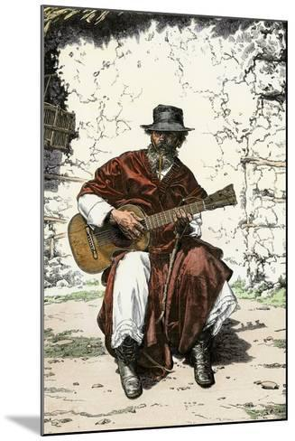 """Argentinian """"Gaucho Cantor,"""" or Cowboy Guitar-Player of the Pampas, 1800s--Mounted Giclee Print"""