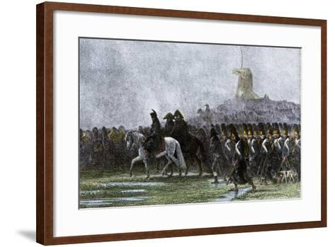 French Army Marching Through Poland in the Rain, Napoleonic Wars--Framed Art Print
