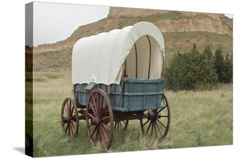Covered Wagon Replica on the Oregon Trail, Scotts Bluff National Monument, Nebraska--Stretched Canvas Print