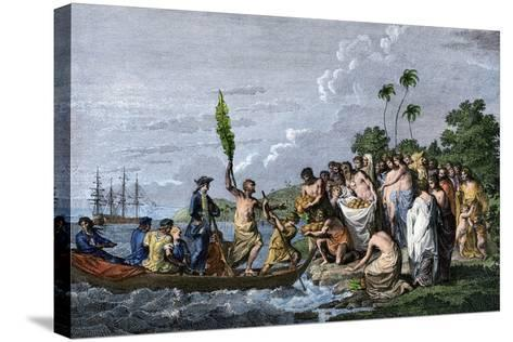 James Cook Landing in the Friendly Islands, Greeted by Tonga Natives Bearing Fruit, 1770s--Stretched Canvas Print