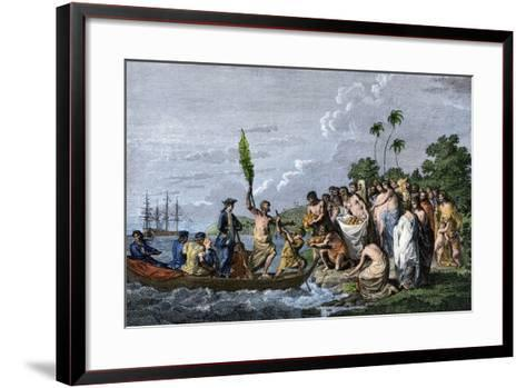 James Cook Landing in the Friendly Islands, Greeted by Tonga Natives Bearing Fruit, 1770s--Framed Art Print