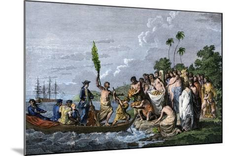James Cook Landing in the Friendly Islands, Greeted by Tonga Natives Bearing Fruit, 1770s--Mounted Giclee Print