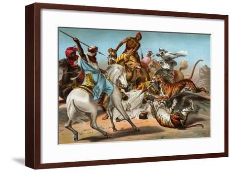 Tigers Attacking an Arab Caravan in the Desert--Framed Art Print