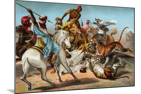 Tigers Attacking an Arab Caravan in the Desert--Mounted Giclee Print