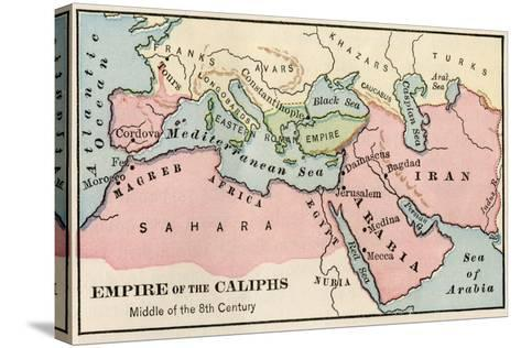 Empire of the Arab Caliphs, Middle of the 8th Century--Stretched Canvas Print