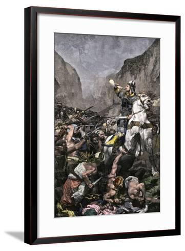 Roland Blowing His Warhorn in Battle Against the Saracens at Roncesvalle, 789 AD--Framed Art Print