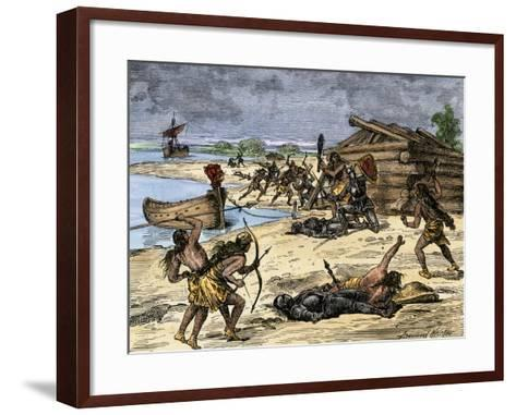 Viking Expedition Leader Thorwald Fatally Wounded by Natives on the Coast of Canada, 1002 AD--Framed Art Print