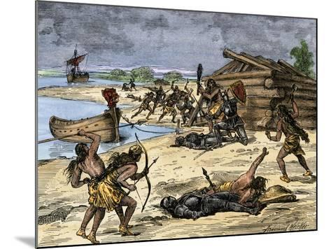 Viking Expedition Leader Thorwald Fatally Wounded by Natives on the Coast of Canada, 1002 AD--Mounted Giclee Print