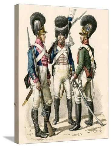 French Army Uniforms: Infantry 1814-1825, Grenadier 1812-1815, and Cavalry 1805-1812--Stretched Canvas Print