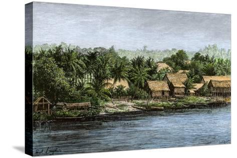 Native Village in Borneo Near Sarawak, 1800s--Stretched Canvas Print