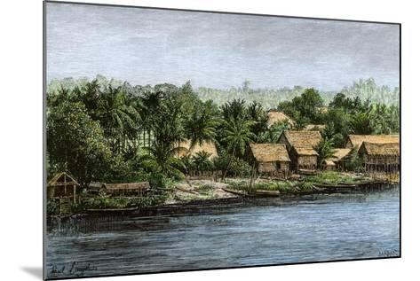 Native Village in Borneo Near Sarawak, 1800s--Mounted Giclee Print