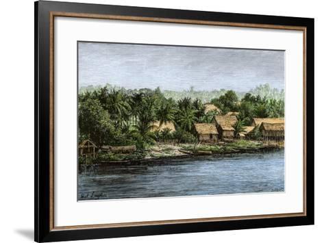 Native Village in Borneo Near Sarawak, 1800s--Framed Art Print