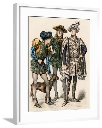 Charles the Bold, Duke of Burgundy (Right), with His Attendants, 1400s--Framed Art Print