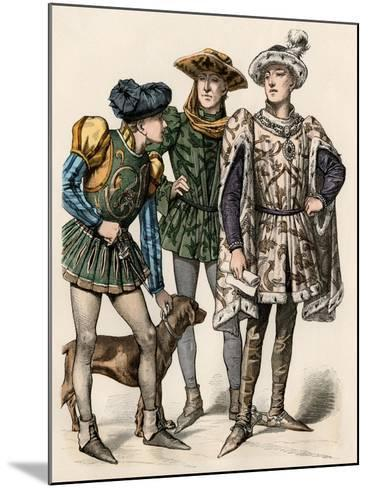 Charles the Bold, Duke of Burgundy (Right), with His Attendants, 1400s--Mounted Giclee Print