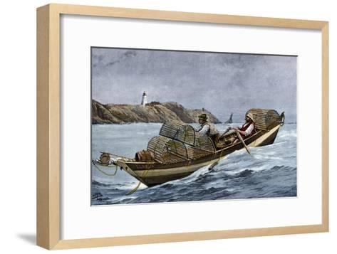 Lobster Fishermen in the Grand Manan Channel Between Maine and New Brunswick, 1890s--Framed Art Print