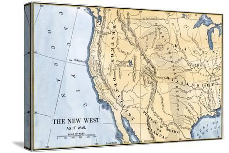 Map of the Western Frontier in the United States, 1800s--Stretched Canvas Print