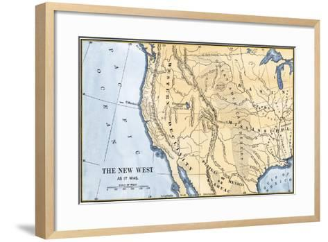 Map of the Western Frontier in the United States, 1800s--Framed Art Print