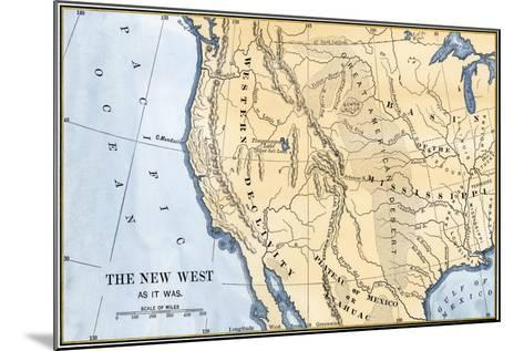 Map of the Western Frontier in the United States, 1800s--Mounted Giclee Print